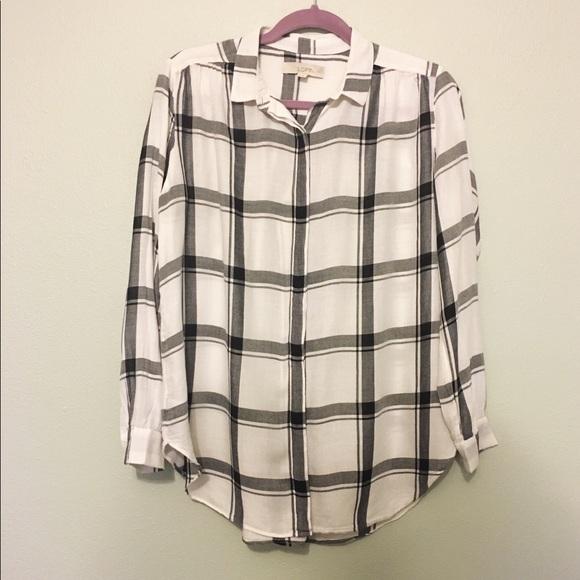 LOFT Tops - LOFT Windowpane Plaid Softened Tunic Shirt